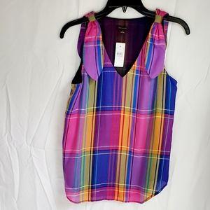 Rainbow plaid sleeveless Ann Taylor blouse